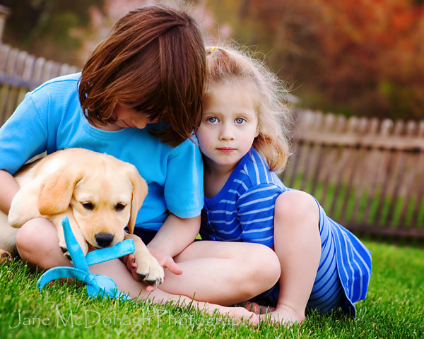 Kids and dog portrait