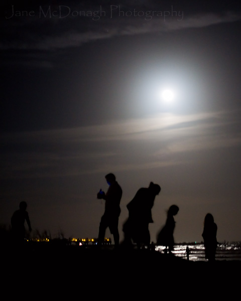 Cocoa Beach in florida by moonlight