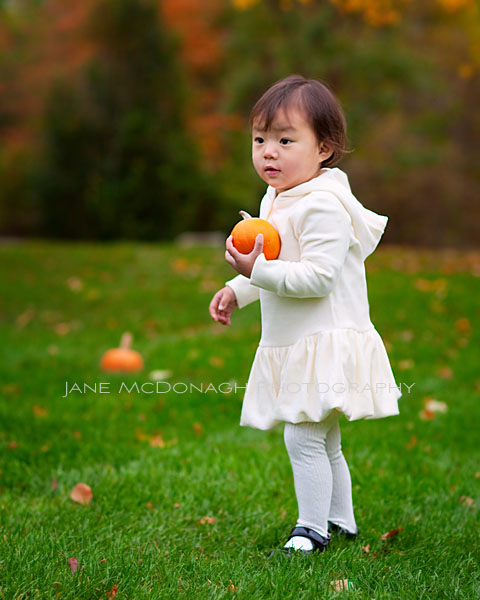 Girl with pumpkin - fall portrait