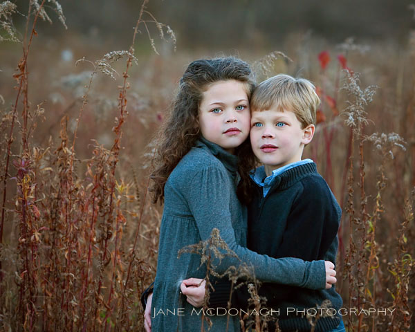 Brother and sister fall portrait